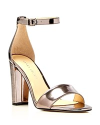 Ivanka Trump Emalyn Metallic Ankle Strap High Heel Sandals Pewter