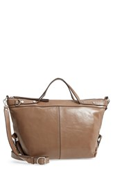 Treasure And Bond Perry Glazed Leather Convertible Satchel Beige Beige Biscuit