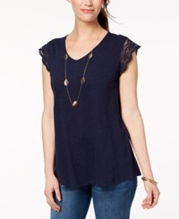 Styleandco. Style Co Cotton Embroidered T Shirt Created For Macy's Industrial Blue
