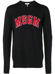 Msgm Logo Knit Jumper Black