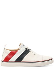 Thom Browne Leather Lace Up Sneakers White