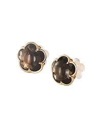Pasquale Bruni 18K Rose Gold Smoky Quartz Floral Stud Earrings Rose Brown