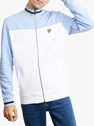 Lyle And Scott Tipped Funnel Neck Full Zip Top White Blue