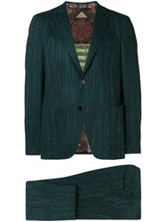 Etro Striped Two Piece Suit Green