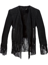 Barbara Bui Fringed Lambskin Jacket Black