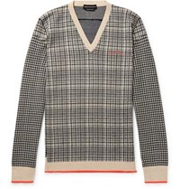 Alexander Mcqueen Houndstooth And Checked Wool Sweater Black