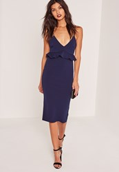 Missguided Strappy Frill Bodycon Dress Navy