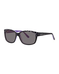 Thierry Mugler Crackle Effect Plastic Sunglasses Black Purple