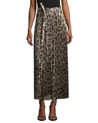 Haider Ackermann Pleated Metallic Leopard Print Midi Skirt Multi