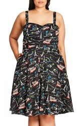 City Chic Plus Size Women's Parisian Print Fit And Flare Sundress Black