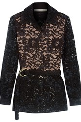Alexis Tim Belted Guipure Lace Jacket Black