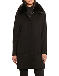 Lauren Ralph Lauren Faux Fur Trimmed Coat Black