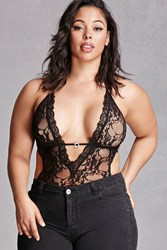 Forever 21 Plus Size Sheer Lace Bodysuit Black
