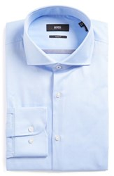 Boss Men's Big And Tall Jerrin Slim Fit Solid Dress Shirt Light Pastel Blue
