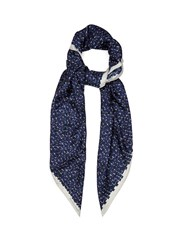 Bottega Veneta Brick Print Silk Twill Scarf Blue Multi