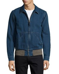 Faherty Car Zip Front Coat Indigo