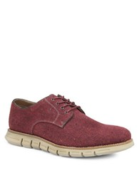 Gbx Hart Plain Toe 4 Eyelet Wool Tweed Oxfords Red