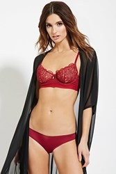Forever 21 Sheer Lace Balconette Bra Burgundy