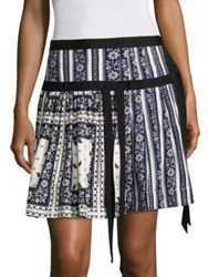 Cinq A Sept Amory Pleated Scarf Print Silk Skirt Navy Ivory