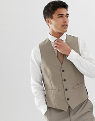 French Connection Slim Fit Plain Waistcoat Brown