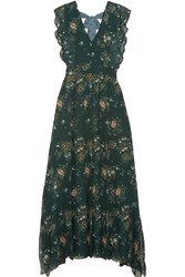 See By Chloe Printed Georgette Maxi Dress Forest Green