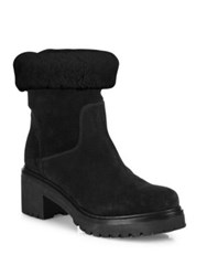 Moncler Cassandre Shearling And Suede Boots Black
