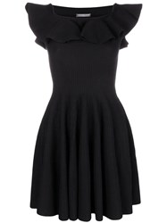 Alexander Mcqueen Off Shoulder Flared Dress Black