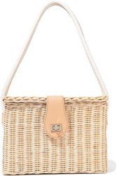 Kayu Woman Mia Leather Trimmed Wicker Shoulder Bag Beige