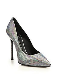Giuseppe Zanotti Iridescent Snake Embossed Leather Pumps Silver