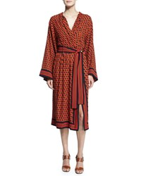 Michael Kors Hexagon Print Silk Wrap Dress Coral Multi