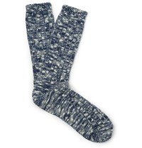 Anonymous Ism Marled Cotton Blend Socks Blue
