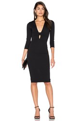 Donna Mizani Banded Deep V Midi Dress Black
