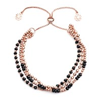 Azuni London Delia Three Strand Bracelet In Rose Gold And Black Onyx