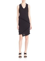 Red Haute Sleeveless Frayed Trim Dress Black