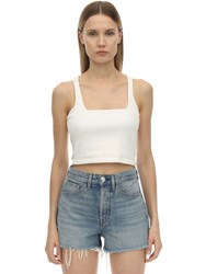 3X1 Ribbed Cotton Jersey Crop Top White