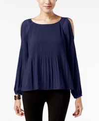 Jpr Pleated Cold Shoulder Blouse Evening Blue