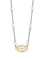 Freida Rothman Classic Cz And 14K Gold Plated Sterling Silver Leaf Cluster Pendant Necklace