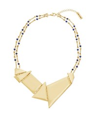 Steve Madden Double Strand Bar Link Blue Bead Station And Geo Discs Necklace Gold