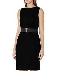 Reiss Virgo Velvet Belted Dress Black