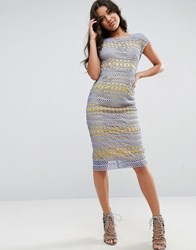 Asos Lace Wiggle Dress With Contrast Lining Yellow
