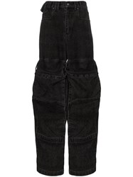 Y Project Cargo Pocket Flared Jeans Black
