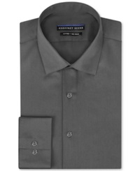 Geoffrey Beene Non Iron Fitted Stretch Sateen Solid Dress Shirt Gunmetal