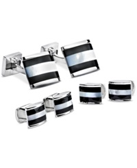 Ike Behar Onyx And Mother Of Pearl Cufflinks And Studs Set Multi