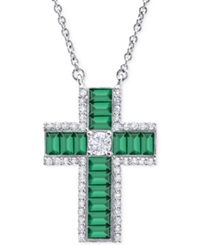 Crislu Platinum Over Sterling Silver Cubic Zirconia Thick Cross Pendant Necklace Green