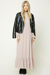 Forever 21 Oversized Peasant Maxi Dress Light Pink