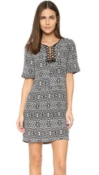 Twelfth St. By Cynthia Vincent Lace Up Shift Dress Diamond Leopard
