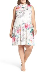Eliza J Plus Size Women's Floral Print Shift Dress