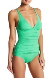 Tommy Bahama Ruched Triangle Top One Piece Swimsuit Green