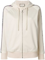 Gucci Crystal Embroidered Zipped Sweatshirt Cotton Polyester Bronze Glass Xs Nude Neutrals