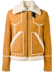 Coach Shearling Jacket Men Calf Leather Lamb Skin Lamb Fur 50 Nude Neutrals